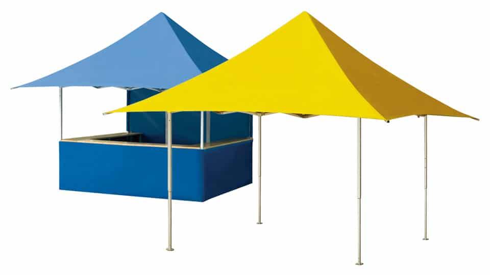 Gazebo pieghevole QUALYTENT Shop, giallo, blu
